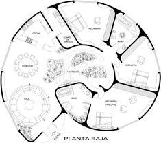 PLANO DE CASA CON FORMA DE CARACOL, DE 1 PISO