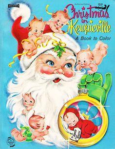 Vintage Christmas in Kewpieville Coloring Book Childrens Christmas, Noel Christmas, Christmas Books, Retro Christmas, Xmas, Reindeer Christmas, Vintage Christmas Images, Vintage Holiday, Christmas Pictures