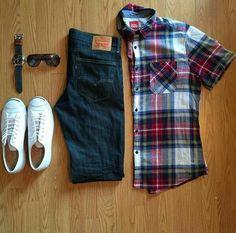 Levis/Jack Purcell/Plaid Short Sleeve