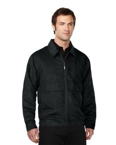 Suede Jacket mens with polyester printed lining   Style#: Tri mountain J2930 #hunk #hotness #black