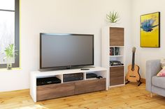 Shop Nexera 400612 Liber-T TV Stand with Bookcase at Lowe's Canada. Find our selection of tv stands at the lowest price guaranteed with price match. Bookcase Tv Stand, Bookcase Wall, Tv Stand And Matching Bookcase, Ikea Tv Unit, Armoire Tv, Walnut Tv Stand, Lcd Units, Home Entertainment, Ideas