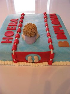 swimming certificate cake
