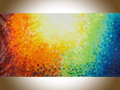 "Extra Large wall art 60"" red blue green yellow orange autumn abstract painting original artwork blue home decor ""October Sun"" by QiQiGallery by QiQiGallery on Etsy"