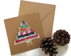 Fabric christmas trees fabric greeting card by LukannaDesigns