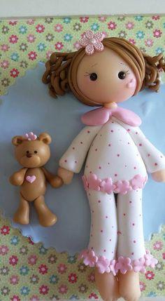 Muñeca Cute Polymer Clay, Cute Clay, Polymer Clay Dolls, Clay Art Projects, Polymer Clay Projects, Projects To Try, Clay Magnets, Clay Mugs, Sugar Craft