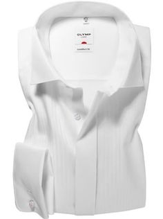 Olymp White Vertically Patterned Evening Dress Shirt - Wing Collar - Comfort Fit