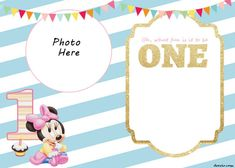 FREE Printable Minnie Mouse 1st Invitation Templates - FREE Invitation Templates - Drevio Free Invitation Templates, Templates Free, Invitation Design, Minnie Mouse Birthday Invitations, Free Printable Birthday Invitations, Baby Scrapbook, Mouse Parties, Baby Party, It's Your Birthday