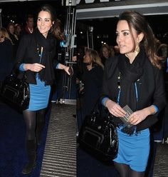 Blue Dress, Black Jacket, Black Pashmina, Black Boots, Black Leather Bag on Duchess of Cambridge