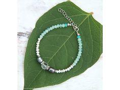 Náramek s Perlami & KŘIŠŤÁLem Summer Bracelets, Linux, Beaded Necklace, Names, Green, Jewelry, Beaded Collar, Jewlery, Pearl Necklace
