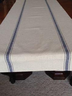 Grain Sack Blue Stripe Table Runner by CottageDesigns on Etsy