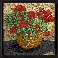 Mosaic geraniums.   By Virginia Gardner
