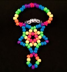 1 Hand Kandi Star pick any colors & word by KandiKal on Etsy