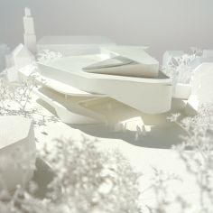 Architectural Model - Hascher Jehle architecture Source by Form Architecture, Architecture Portfolio, Futuristic Architecture, Interior Architecture, Architecture Diagrams, Feldkirch, Architectural Section, Architectural Models, Architectural Presentation