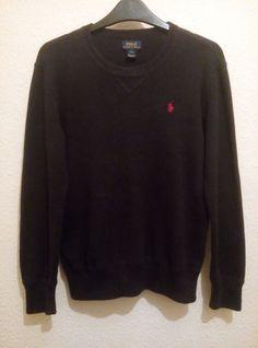 RALPH LAUREN Boy Cotton Navy Crew Neck Sweater Jumper Top Size 14 16 L