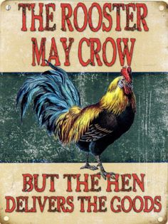 ROOSTER MAY CROW hen vintage enamel style tin metal advertising sign