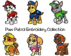 6 Paw Patrol Embroidery Design patterns- several formats & sizes - Instant Download