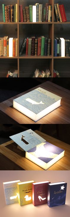 "The cutest piece of home decor for book lovers! The Book Lamp is shaped and designed to resemble classic literature. A translucent block inside emits a soft glow of light through the front and sides. You can leave the book open or closed to adjust the amount of light! It can be plugged into a power source through the micro USB port on its 35"" cord making it great for indoors and outdoors. The cute and charming disign makes it the perfect functional home accessory for any room, so check it…"