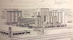 Architecture SIGNED Art Hand Drawn Ink Drawing Baptist Medical Oklahoma City OK #Realism