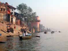 This photo from Uttar Pradesh, North is titled 'boats and Ganga river'. Historical Architecture, Ancient Architecture, City Sketch, Indian River, North India, Still Life Art, Varanasi, Urban Sketching, Rajasthan India
