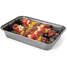 Chef Tony Grease Away Shish Kabob Pan, Metallic ** Trust me, this is great! Click the image. : Bread and Loaf Pans Shish Kabobs, Skewers, Loaf Pan Sizes, Bakers Kitchen, Dog Food Recipes, Healthy Recipes, Pan Set, How To Cook Steak, Roasting Pan