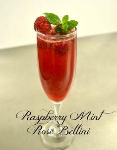 raspberry mint rose bellini cocktail recipe