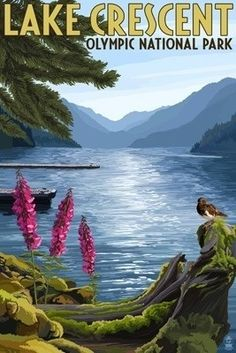 Olympic National Park, Washington - Lake Crescent - Lantern Press Poster