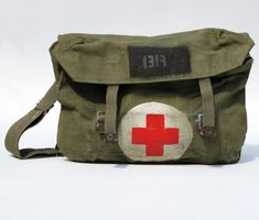 WWII Military Medic Bag vintage canvas green by ThreeRetroGeeks, $45.00
