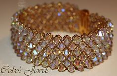 Cobo's Jewels--no directions, but its like a double hugs & kisses bracelet-jj Beaded Jewelry Designs, Bead Jewellery, Seed Bead Jewelry, Handmade Jewelry, Seed Bead Bracelets, Jewelry Bracelets, Jewelery, Beaded Bracelet Patterns, Bijoux Diy