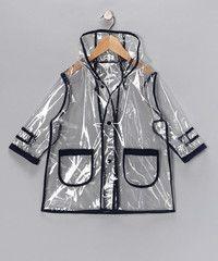 Pluie Pluie Boys R2C - NY Navy Transparent Rain Coat