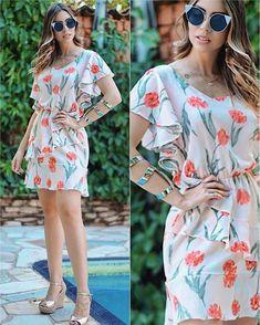 ✨ Dress super verão, super Tendência! Mááára!  Gostou? . ✨Solicite o Preço ou qualquer informação por Whatsapp: Goiânia (62): Gcm 983150200; Gcm II 983153355; Fama 983153366; Virtual 982374948; Av. 44: 994303752;. . .  ✨ Faça pedidos pelo site: loja.lisabrasil.com.br . . ATACADO e VAREJO . #modafeminina #roupafeminina #vestido #dress #short #blusa #calça #body Cute Dresses, Casual Dresses, Short Dresses, Girls Dresses, Chiffon Dress, Vestido Dress, Frock Patterns, Ankara Gown Styles, Modest Wear