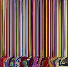 Colorfall: Spectroscopic, 2013, by Ian Davenport.  imagen creada por adición ( acrilico sobre acero inoxidable )