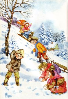I Love Winter, Winter Art, Winter Illustration, Children's Book Illustration, Kids Playing In Snow, Winter Drawings, Little Einsteins, Picture Composition, Dashing Through The Snow