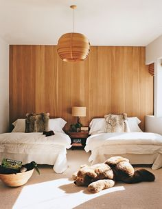 Loving the wooden light and the matching wall behind.