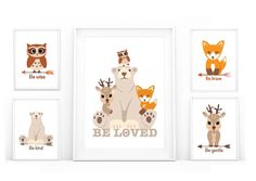 5 Digital files woodland nursery art (fox, owl, deer, bear, and beloved) for decorate your kids room, ready to print out to make a card, or send as