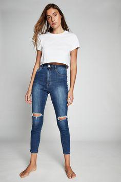 Pink Floyd T Shirt, Long Torso, Sleek Look, Cropped Skinny Jeans, Crop Shirt, High Waist Jeans, Skinny Fit, Stretch Denim, Style Inspiration