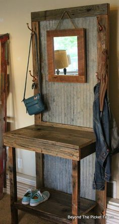 rustic reclaimed hall tree, closet, home decor, woodworking projects - Woodworking Diy Salvaged Wood Projects, Diy Wood Projects, Furniture Projects, Home Projects, Woodworking Projects, Teds Woodworking, Woodworking Workshop, Woodworking Basics, Woodworking Furniture