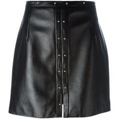 Magda Butrym Leather Mini Skirt (€595) ❤ liked on Polyvore featuring skirts, mini skirts, saias, black, leather skirt, short skirts, leather miniskirt, real leather skirt and short mini skirts