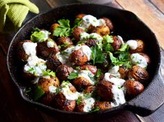 Skillet Potatoes With Cajun Blackening Spices and Buttermilk-Herb Sauce ..Where's my fork?