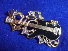 Vintage Guitar Brooch Black Enamel Rhinestones by OodlesofBling, $10.00