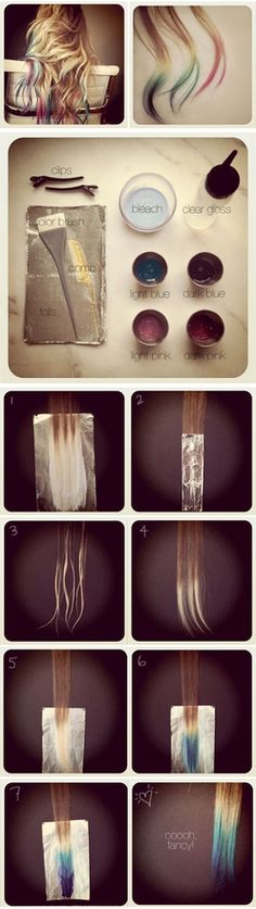 Tie dye hair tips tutorial. Would love to do this but bleach freaks me out a little lol