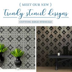 NEW Trendy Wall StencilsFor All Your DIY Decorating Projects Good morning, my Cutting Edge Stencils friends! We are excited to introduce a new collection of trendy stencil patternsthat are perfect for all of your DIY decorating projects! Our nineteen newstencil designsfeatures a little bit of s