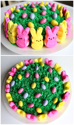 Easy Marshmallow Peeps Easter Cake by Crafty Morning - yummy! Easter Snacks, Easter Appetizers, Easter Treats, Easter Recipes, Easter Desserts, Easter Food, Easter Cupcake Decorations, Easter Cakes Decorating, Easter Bunny Cake