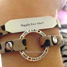 The lovely leopard print double wrap bracelet with a slider and a plaque. Both inscribed with meaningful words. You'll love this look! https://www.kellib.origamiowl.com