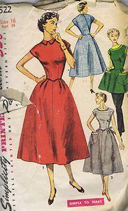 Vintage Wrap Apron Dress 4522 Sewing Pattern Simplicity 50s Bust 32 Hip 35 Cut | eBay
