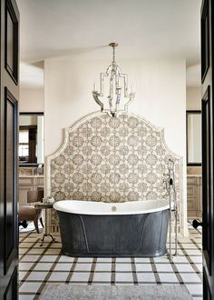 Moroccan tile section in the bathroom enlivens an otherwise all-white setting [From: Wiseman & Gale Interiors] Bad Inspiration, Bathroom Inspiration, Bathroom Ideas, Bathroom Organization, Bathroom Niche, Bathroom Hacks, Mosaic Bathroom, Bathroom Layout, Bathroom Cabinets
