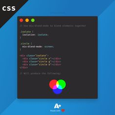 Did you know that you can use pure CSS to blend images together with the mix-blend-mode propety? It's important to set the parent's isolation to isolate if you don't want blending with the background. Learn Html, Learn To Code, Computer Technology, Computer Science, Web Design, Design Ideas, Css Cheat Sheet, Webpage Layout, Css Style