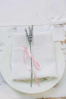 Rustic Chic Sonoma County Winery Wedding | Photos - I like the simple sprig of lavender with little satin ribbon  on the napkin fold