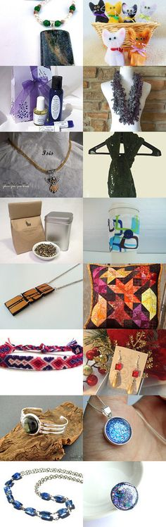 Handmade Beauty  by Ian Garrett on Etsy--Pinned with TreasuryPin.com has Jewelry and warm winter scarfs, organic tea, a lavender gift set and pillows and more for a warm handmade winter. Hope you enjoy and give these #TheHandmadeForum shops on Etsy a visit.