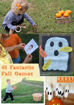 Easy to create Fall Games for Kids -- fun ideas for autumn and Halloween -- great for backyard play, classroom parties, weekend activities and family get-togethers! Fete Halloween, Halloween Party Games, Halloween Birthday, Halloween Activities, Autumn Activities, Halloween Crafts, Preschool Halloween, Halloween 2016, Halloween Ideas