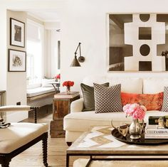 Neutral tone Manhattan living room with rustic accents.
